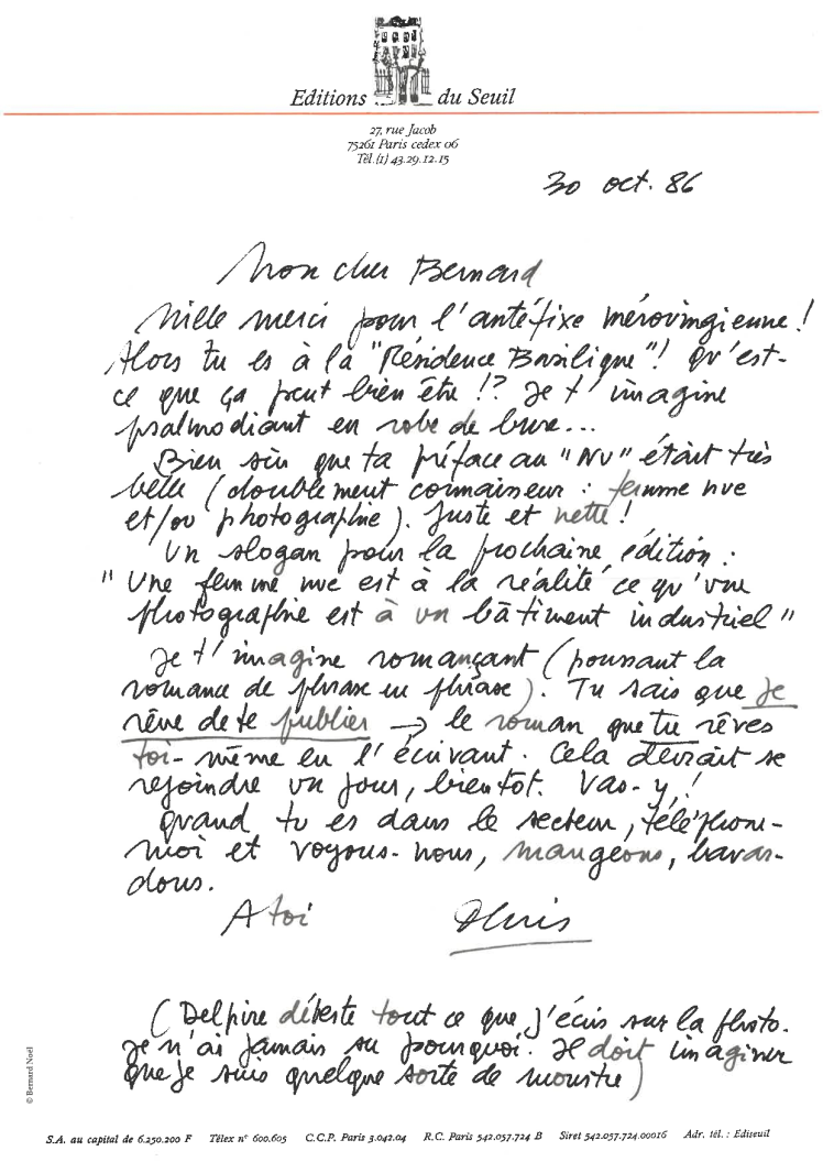 Denis Roche à Bernard Noël - 30 octobre 1986